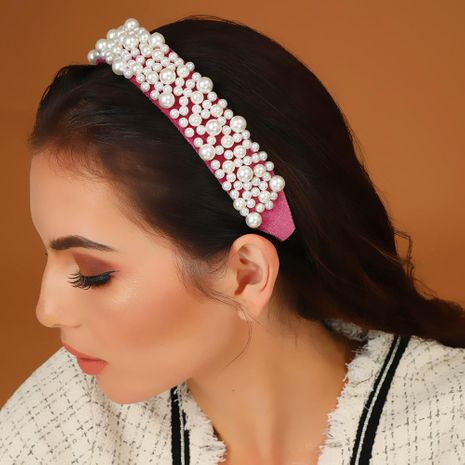 Hot new wide-neck velvet solid color size pearl headband NHMD175905's discount tags