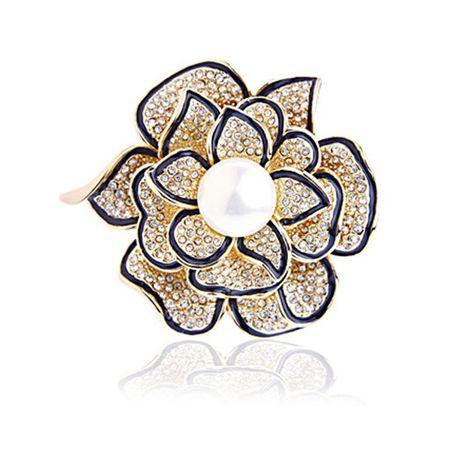 Luxury full diamond natural pearl three-dimensional flower brooch NHLJ175933's discount tags