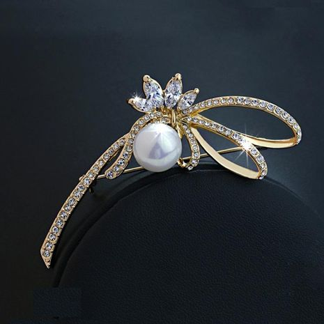 Exquisite full diamond zircon flower pearl brooch bridal accessories fashion brooch NHLJ175934's discount tags