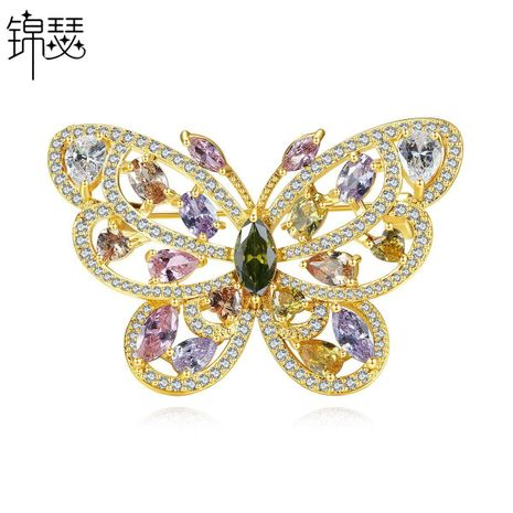 Butterfly dream brooch new fashion butterfly copper inlaid zircon lady brooch corsage clothing jewelry gift NHTM176006's discount tags