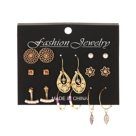 Earring Set 8 Pairs Set Cutout Retro Flower Pearl Stud Earrings NHDP176210's discount tags