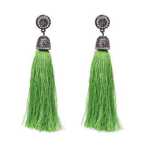 New fringed inlaid rhinestone earrings multi-color optional female models long tassel earrings NHJJ176133's discount tags