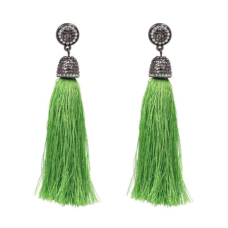New fringed inlaid rhinestone earrings multi-color optional female models long tassel earrings NHJJ176133