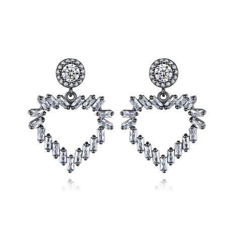 Aretes para mujer de botón  de corazón de moda Pendientes de botón de circonio de cobre  NHTM175997's discount tags