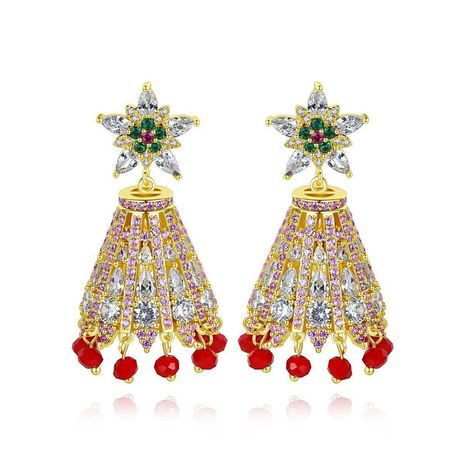 Earrings ethnic style zircon color wind chimes tassel retro palace style luxury earrings NHTM175998's discount tags