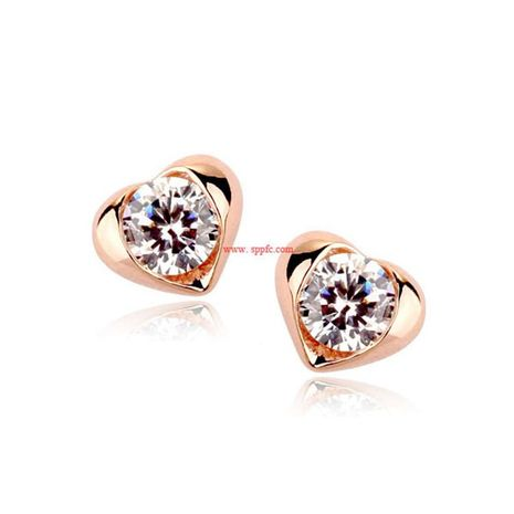 New exquisite simple earrings high-grade inlaid stone love peach heart crystal earrings NHLJ175925's discount tags