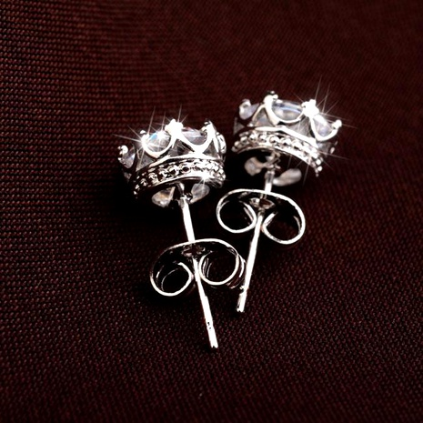 Exquisite small crown zircon stud earrings simple girl earrings NHLJ175940's discount tags