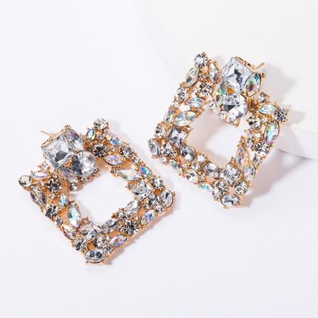 Square alloy diamond rhinestone glass drill full diamond earrings female high-grade super flash earrings NHJE176142's discount tags