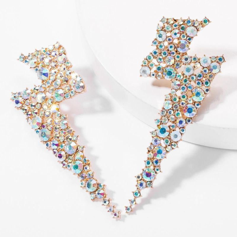 Fashion alloy diamond and diamonds lightning earrings female European claw chain NHJE176141