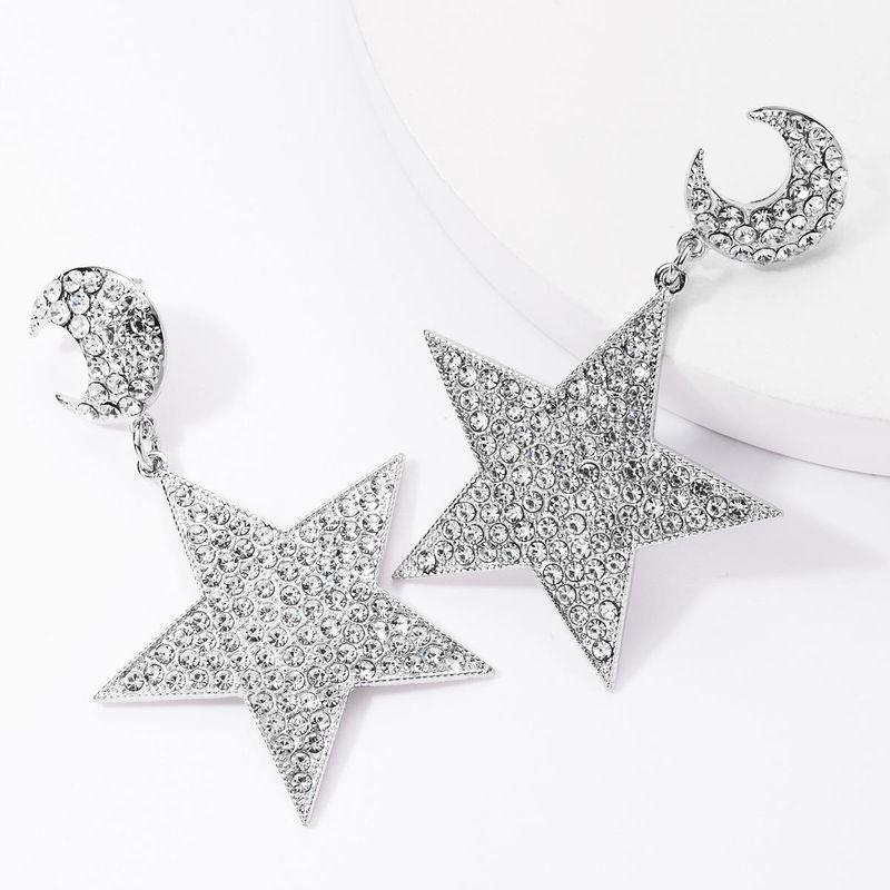Alloy Rhinestone Diamond Moon Star Full Diamond Earrings Women Fashion Super Flash Ear Studs NHJE176145