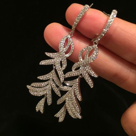 S925 silver needle feather earrings super flash micro-inlaid zircon long fringed leaves earrings NHWK176098's discount tags