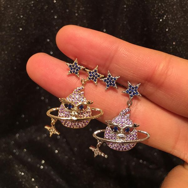 S925 silver pin cartoon bird earrings micro-inlaid zircon stars circle creative fun earrings NHWK176101