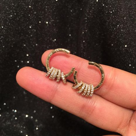 S925 silver needle Roman numeral lucky circle earrings C-shaped transfer ring creative design simple NHWK176102's discount tags