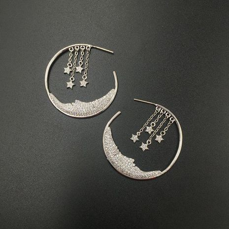 S925 silver pin micro-inlaid zircon luxury stars tassel earrings moon creative circle earrings NHWK176105's discount tags