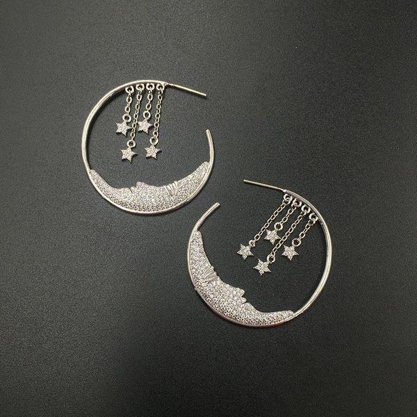 S925 silver pin micro-inlaid zircon luxury stars tassel earrings moon creative circle earrings NHWK176105