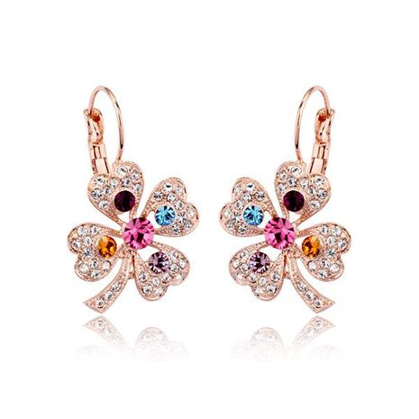 Exquisite luxury full diamond leaf crystal earrings NHLJ175913's discount tags