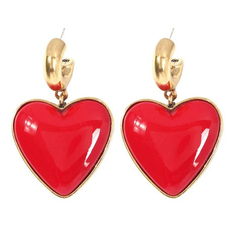 Heart-shaped earrings fashion red heart-shaped trend earrings NHMD175909's discount tags