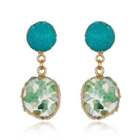 Jewelry new fashion gravel earrings retro unique irregular round resin earrings NHGO176088's discount tags
