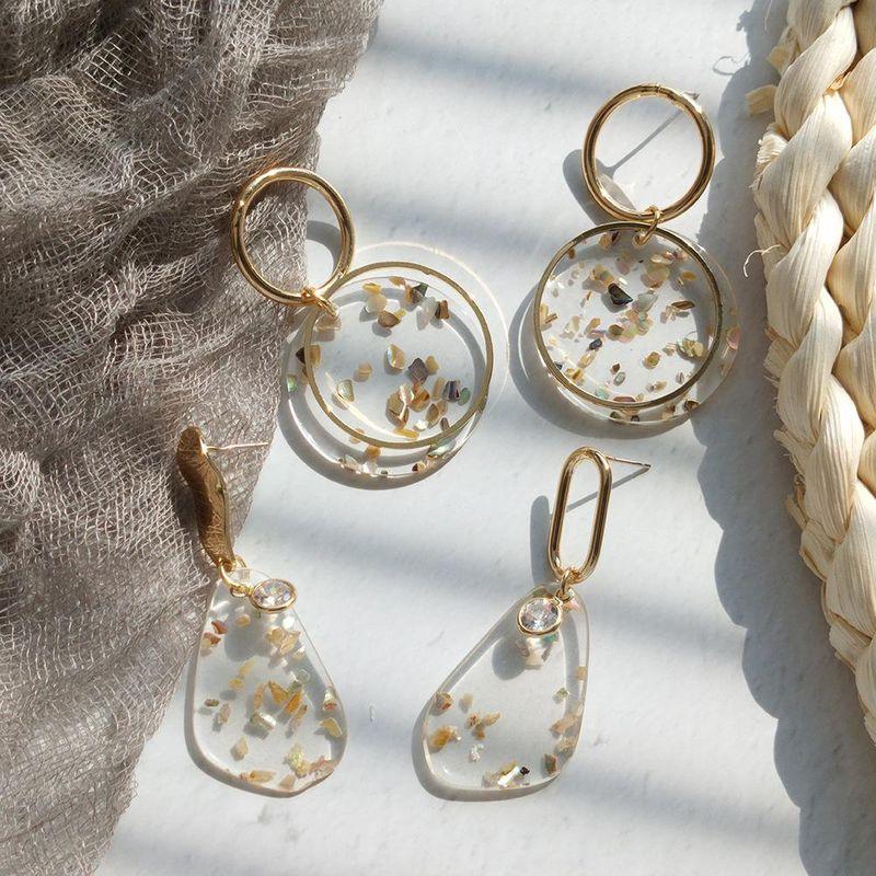 Earrings female earrings round resin small fresh earrings NHMD175893