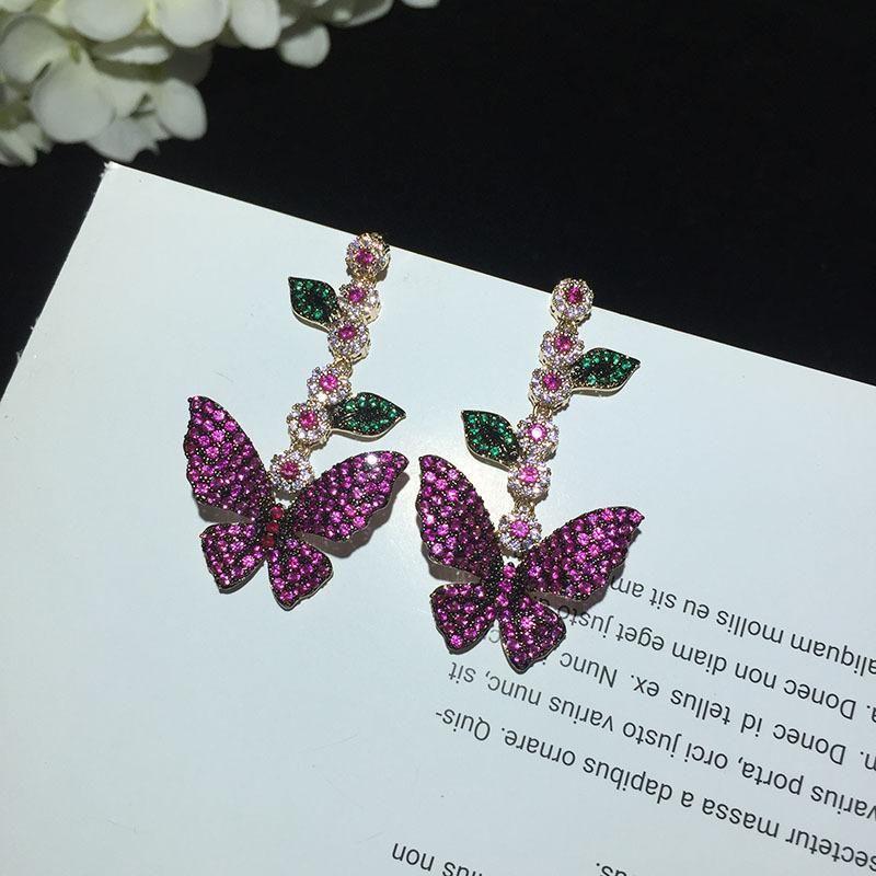 Butterfly Earrings Micro Zircon Leaves Flowers Long Tassel Earrings NHWK176103