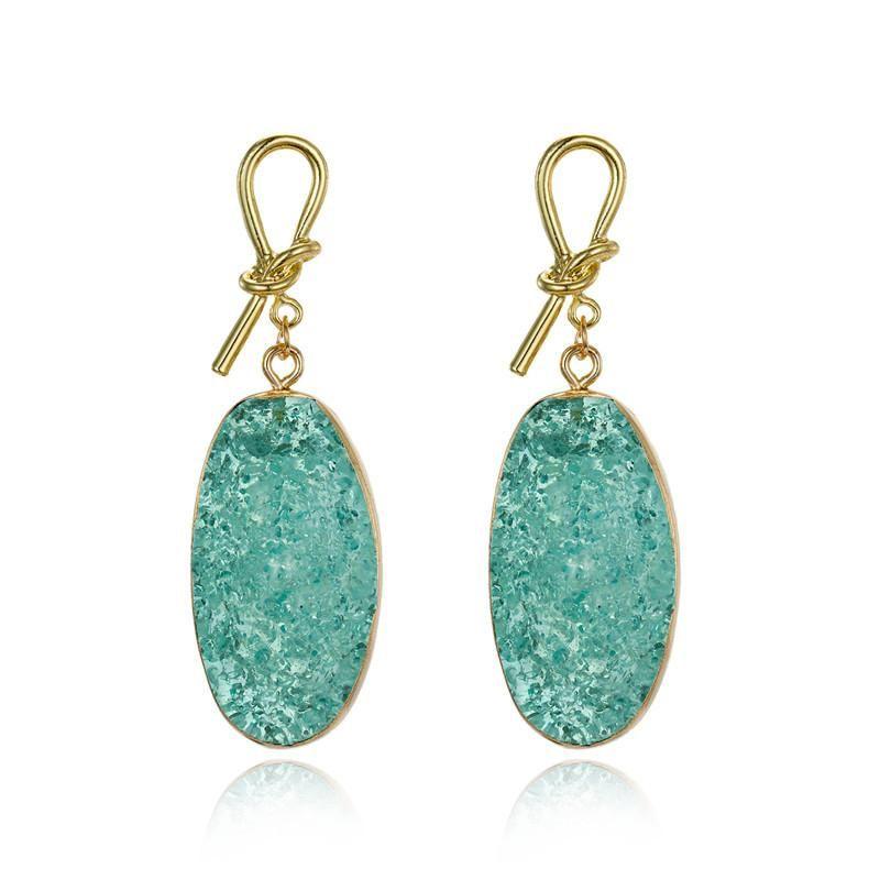 Bohemian gold bow stud earrings natural stone long big earrings fat earrings NHGO176093