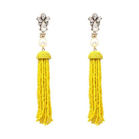 Earrings bohemian national style long tassel earrings European and American style rice beads earrings jewelry NHJJ176130's discount tags