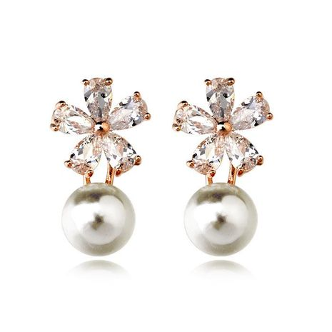 Zircon Snowflake Pearl Earrings NHLJ175930's discount tags
