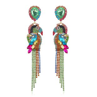 Parrot long earrings hipster animal earrings temperament full diamond symmetrical earrings female NHKQ175961's discount tags