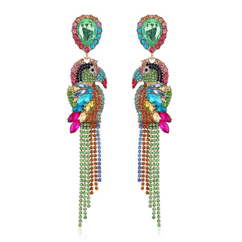 Parrot long earrings hipster animal earrings temperament full diamond symmetrical earrings female NHKQ175961