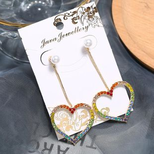 Peach heart earrings rhinestone earrings color love exaggerated earrings hypoallergenic jewelry NHKQ175978's discount tags