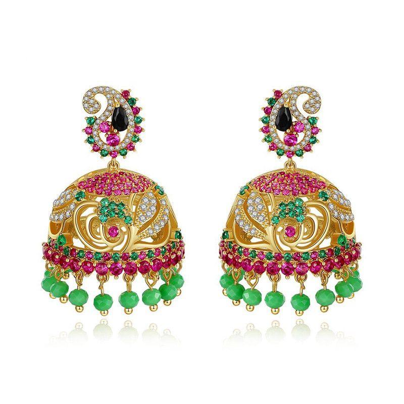 Stud earrings fashion creative new wind chime pearl ladies copper inlaid zirconium color earrings NHTM175993