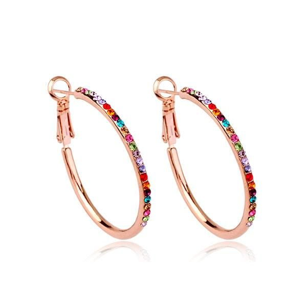 Fashion earrings exquisite simple full diamond ring earrings personality atmosphere NHLJ175946