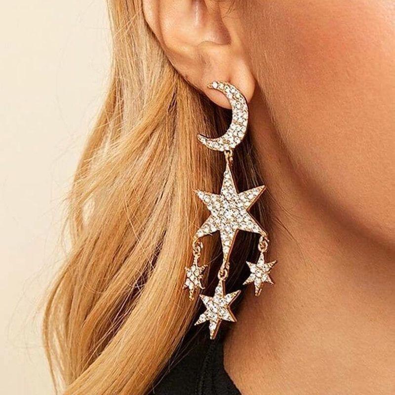 Tassel Earrings Long Earrings Fashion Exaggerated Diamond Star Moon Earrings NHMD175872