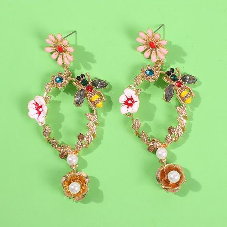 Fashion drip flower rhinestone bee earrings Baroque geometric cutout earrings NHMD175882's discount tags