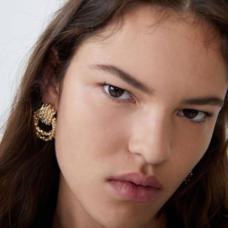 New geometric alloy diamond stud earrings double ring earrings female NHMD175899