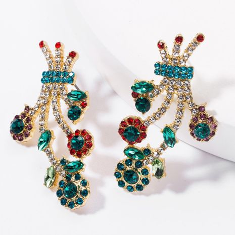 Earrings new alloy diamond multi-layer rhinestone flower earrings female NHJE176143's discount tags