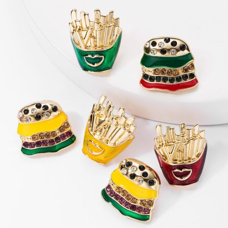 Alloy Drop Oil Rhinestone Studded Burger Fries Asymmetric Earrings Female Fun Stud Earrings NHJE176146's discount tags