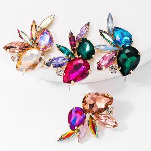 Fashion glass diamond studded diamond earrings female full diamond earrings NHJE176149's discount tags