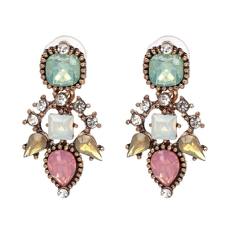 Vintage metal with glass drill earrings female earrings NHJJ176122