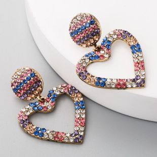 Long heart-shaped earrings female color with rhinestone earrings retro exaggerated tassel earrings NHLN175947's discount tags