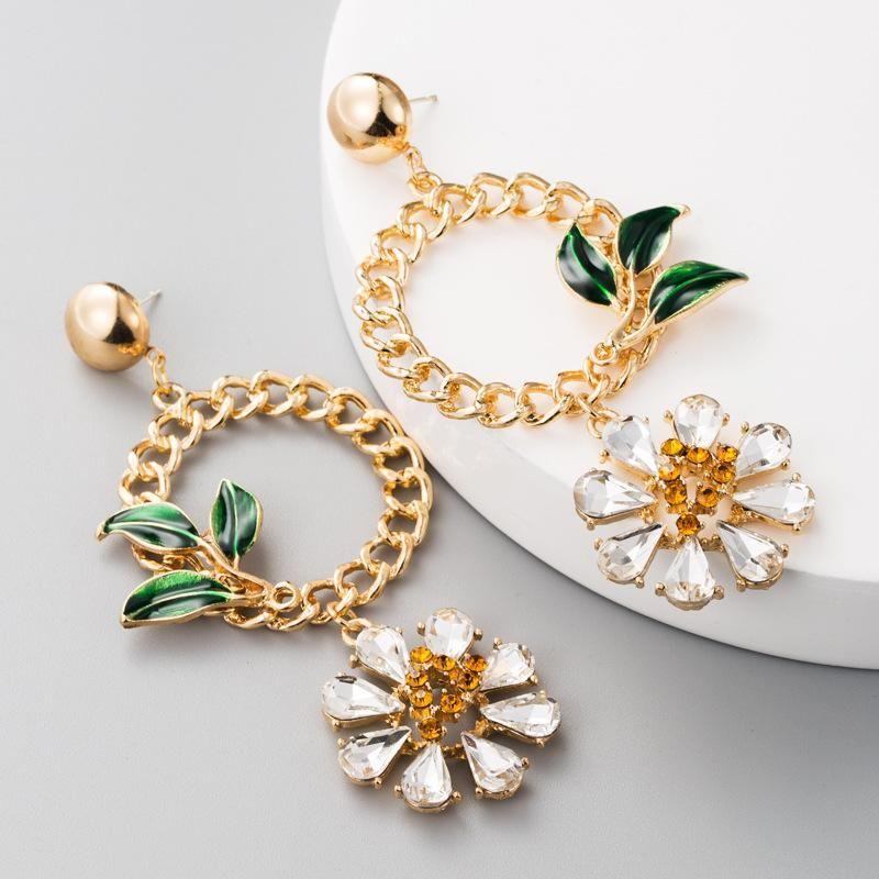 Earrings fashion S925 silver round alloy drop oil leaves set glass rhinestone flower earrings female NHLN175952