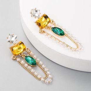 Fashion earrings female alloy inlaid gemstone jewelry long gold tassel crystal earrings NHLN175953's discount tags