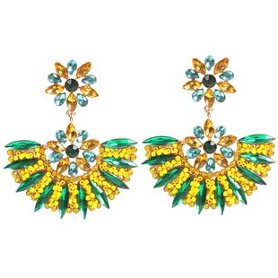 Exaggerated geometric fan shape fashion diamond beads beads earrings NHMD175873's discount tags