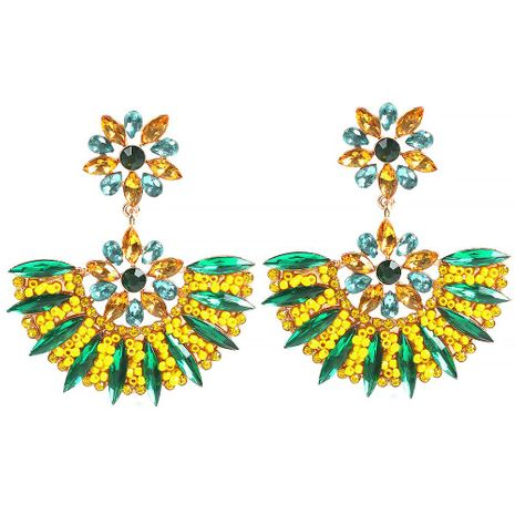 Exaggerated geometric fan shape fashion diamond beads beads earrings NHMD175873's discount tags