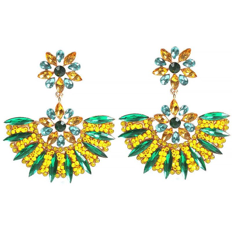 Exaggerated geometric fan shape fashion diamond beads beads earrings NHMD175873