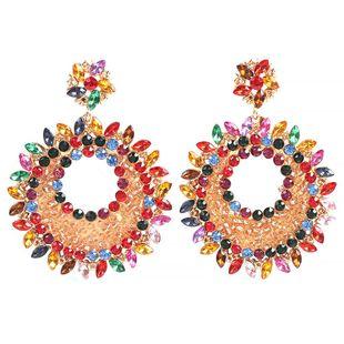 Jewelry Exaggerated Mizhu Earrings Creative Baroque Diamonds Geometric Round Earrings NHMD175874's discount tags