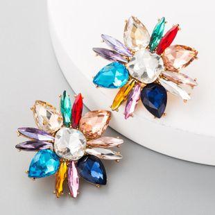 Vintage earrings ladies high-grade alloy glass rhinestone earrings flower earrings NHLN175948's discount tags