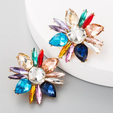 Vintage earrings ladies high-grade alloy glass rhinestone earrings flower earrings NHLN175948's discount tags