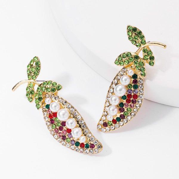 Earrings creative pea alloy rhinestones with diamonds and pearls earrings female pastoral earrings NHJE176147