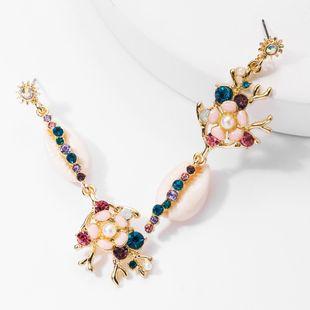 Fashion creative alloy drop oil flower shell rhinestone diamond earrings girl girl heart art earrings NHJE176148's discount tags